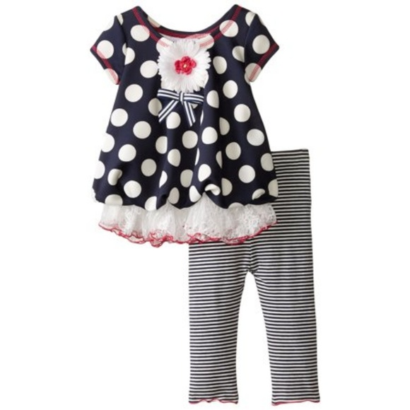 Bonnie Baby Other - Bonnie Baby Outfit Navy Dot Bubble Legging Set NB